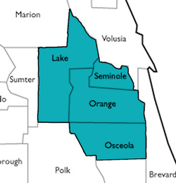 map of Lake, Seminole, Orange and Osceola counties